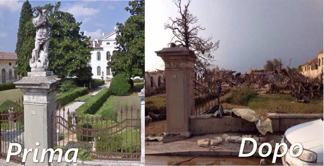 Villa Fini, prima e dopo il passaggio del tornado