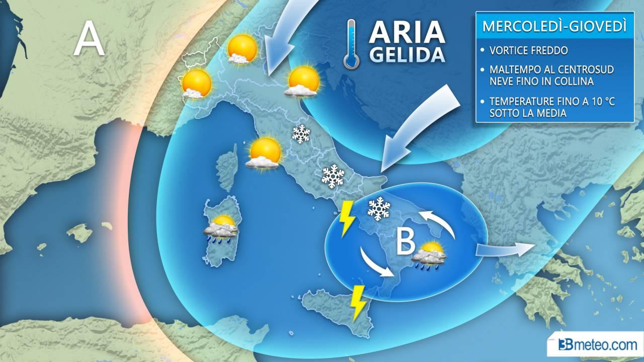 METEO - MALTEMPO invernale verso il Centro Sud: FREDDO e NEVE fino in collina
