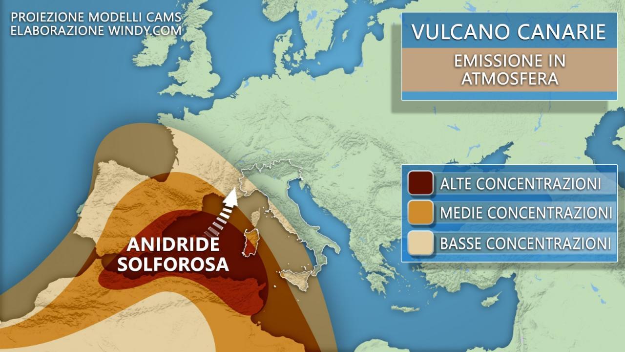 Vulcano Cumbre Vieja: concentrazione di anidride solforosa