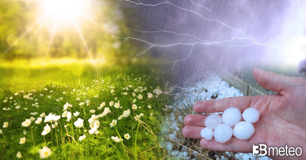 Weekend 1° maggio tra sole, caldo, temporali e grandinate