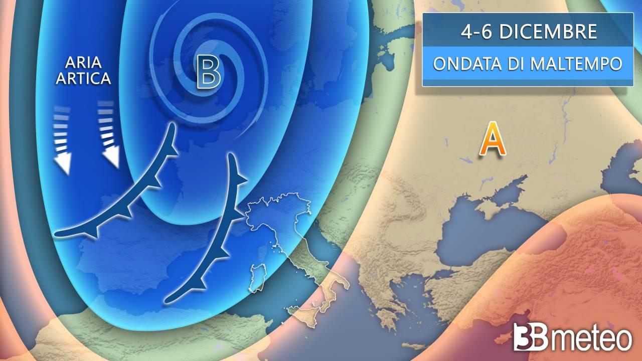 Weekend 5-6 dicembre, saccatura artica sull'Europa centro occidentale