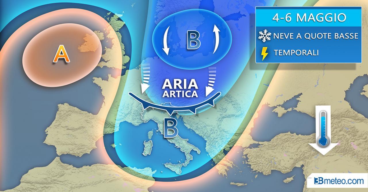 Meteo WEEKEND, duro colpo alla PRIMAVERA, IRRUZIONE POLARE fuori stagione, TEMPORALI, GRANDINE e NEVE a QUOTE BASSE. Previsioni per l'Italia.