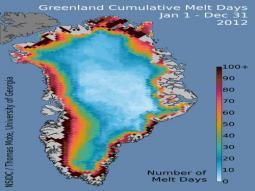 Il numero di giorni di fusione cumulati nel 2012 sulla Groenlandia, oltre 100 sulle aree costiere, ma qualche giorno anche per i settori più interni e lontani dal mare