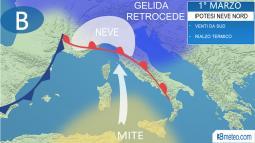 Meteo Italia. Dopo il gelo, ipotesi di NEVE al Nord in avvio di Marzo