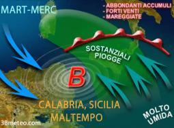 Maltempo in arrivo per Sicilia e Calabria, specie sui settori ionici