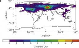 Simulazione copertura nuvolosa in % dovuta al traffico aereo (Fonte: nature.com)