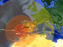 Epicentro del terremoto di Lisbona e area in cui fu avvertito l'evento