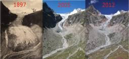 Confronti storici al ghiacciao Pré de Bard (Monte Bianco), fonte Nimbus
