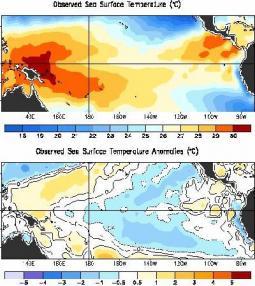 Temperature medie registrate durante la prima decade di Aprile sul Pacifico equatoriale ( sopra ) e i relativi scarti con la media ( sotto ). Fonte NOAA