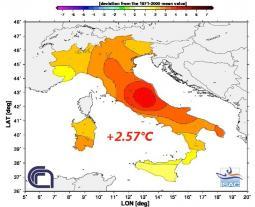 Anomalia di temperatura Giugno 2012 in Italia (fonte ISAC-CNR)