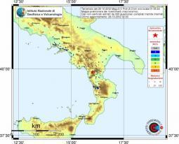 Epicentro del terremoto di stamani