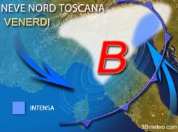 Ecco la neve prevista per venerdì al Nord e sulla Toscana
