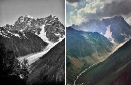 ghiacciaio Chaalati nel Caucaso georgiano fotografato a 121 anni di distanza
