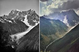 Il ghiacciaio Chaalati nel Caucaso georgiano fotografato a 121 anni di distanza: la sua fronte si è arretrata di due chilometri e ha perso oltre 200 metri di spessore. Sullo sfondo la parete sud del monte Ushba (5200 metri) Foto storica: Vittorio Sella, 1