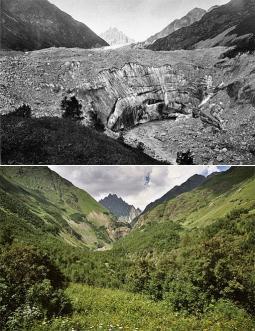 Il ghiacciaio Tvuiberi nel Caucaso georgiano, fotografato a 127 anni di distanza. Al posto della fronte del ghiacciaio, ritirato di oltre 4 chilometri, compare oggi una fitta foresta Foto storica: Mor von Dechy, 1884 - © Royal Geographical Society Foto mo