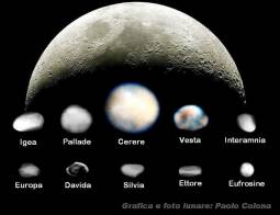 Confronto tra la Luna e differenti asteroidi