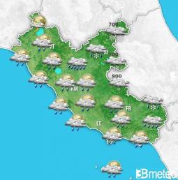 Diffusa instabilità entro sera specie sul Lazio orientale; quota neve in progressivo calo.