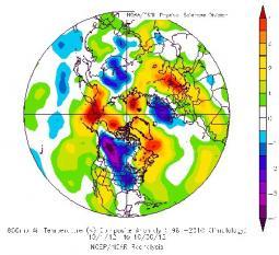 Le anomalie di temperatura alla quota di 850hPa di Ottobre 2012 sull'emisfero Nord.