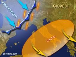 Previsioni meteo Italia giovedì