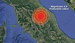 Epicentro del terremoto in Umbria, magnitudo 4.0 profondità 10km