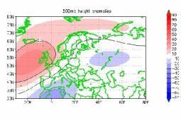 Le anomalie a 500hPa prospettate dall'IRI rispecchiano una situazione di blocco sul Nord Atlantico e Mediterraneo ciclogenetico