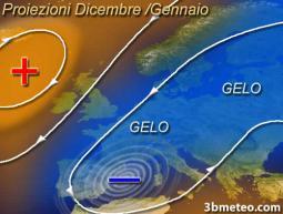 Tendenza per Dicembre/Gennaio: alta pressione di blocco sul Nord Atlantico con possibili frequenti ciclogensi su Mediterraneo occidentale