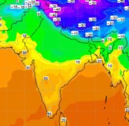 Le temperature minime in India, diffusamente inferiori ai 10°C sulla parte settentrionale