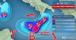 FOCUS SICILIA/CALABRIA: tra giovedì e venerdì rischio PIOGGE ALLUVIONALI e tempeste di vento