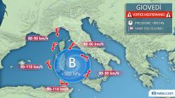 BURRASCHE DI VENTO giovedì con raffiche di oltre 100km/h sulle Isole e mareggiate