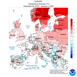 Le anomalie termiche al suolo degli ultimi 7 giorni in Europa