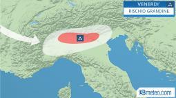 Meteo Italia: aree a rischio grandine venerdì