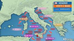 VENTI di BURRASCA e MAREGGIATE per il potenziale MEDICANE (uragano mediterraneo).