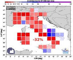 Scarti pluviometrici del mese di Ottobre 2014 (fonte Isac-Cnr)