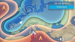 TENDENZA: tra il 26 aprile e il 1° MAGGIO rischio PIOGGIA su alcune regioni