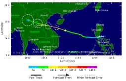 Traiettoria prevista del tifone Doksuri