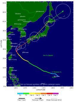 Traiettoria prevista del tifone Talim