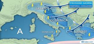 Ancora TEMPORALI al Nord, in transito domenica su Adriatiche e parte del Sud