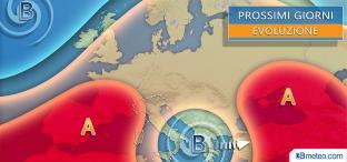 VORTICE ciclonico al Centrosud, TEMPORALI anche FORTI e calo termico, migliora al Nord