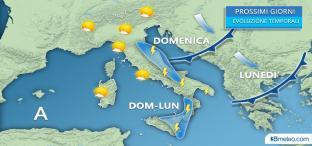 Sole al Nord, locali TEMPORALI in arrivo su Adriatiche e parte del Sud
