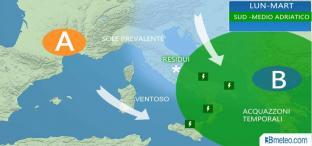 Lunedì piogge su Adriatiche e Meridione