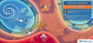 ANTICICLONE ingannevole : non solo caldo, ma anche TEMPORALI a tratti FORTI al Nord