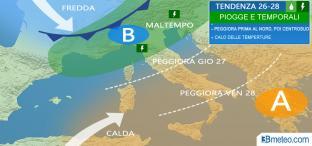 26-28 Aprile: ondata di MALTEMPO con PIOGGE E TEMPORALI, calo termico