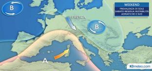 WEEKEND: sole prevalente, sabato ultime piogge al Sud, medio Adriatico. FRESCO