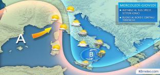 Da mercoledì TEMPORALI al SUD, sole prevalente al Nord e Tirreniche