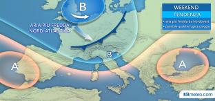 Nel weekend anticiclone in indebolimento. Una perturbazione si avvicina all Italia