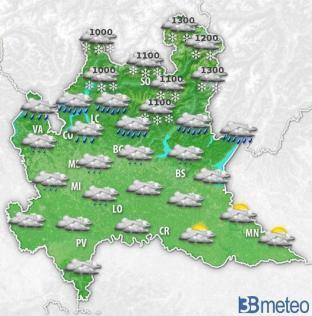 Meteo Lombardia. Martedì MALTEMPO su Alpi e Prealpi. Più asciutto in pianura. NEVE abbondante oltre i 1500m