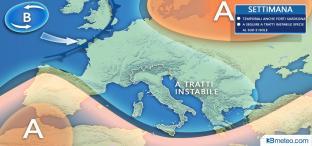 Settimana variabile con piovaschi al Sud; martedì temporali anche FORTI in Sardegna