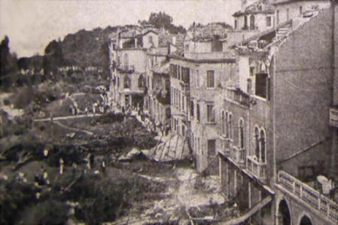 Una delle immagini della devastazione che il tornado provocò a Venezia