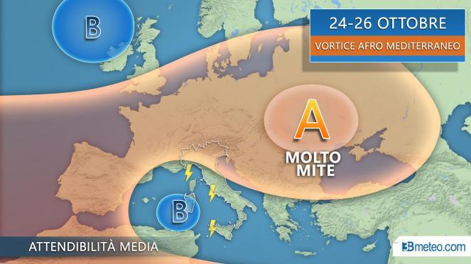24-26 Ottobre vortice afro mediterraneo in azione