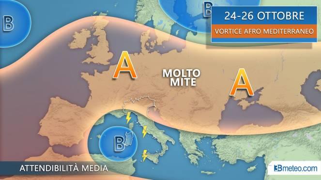 24-26 vortice in azione sul Mediterraneo centrale